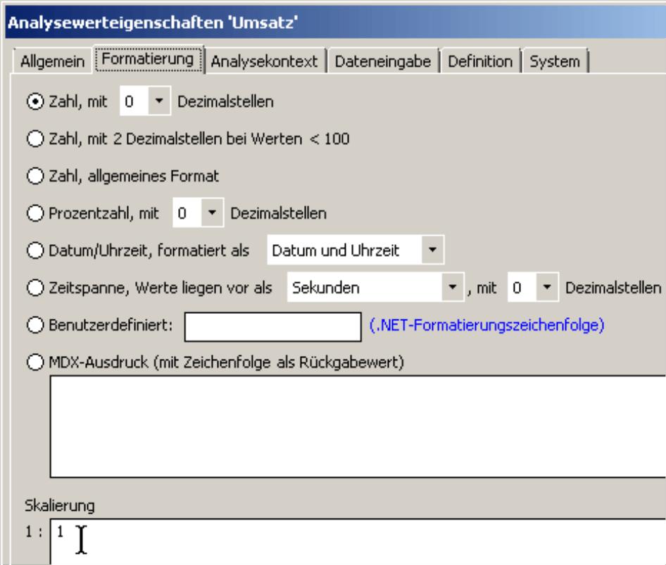 Eingabe Skalierung auf der Registerkarte Formatierung