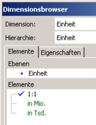 Einheit auf der Registerkarte Elemente im Dimensionsbrowser