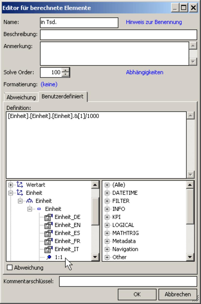 Editor für berechnete Elemente