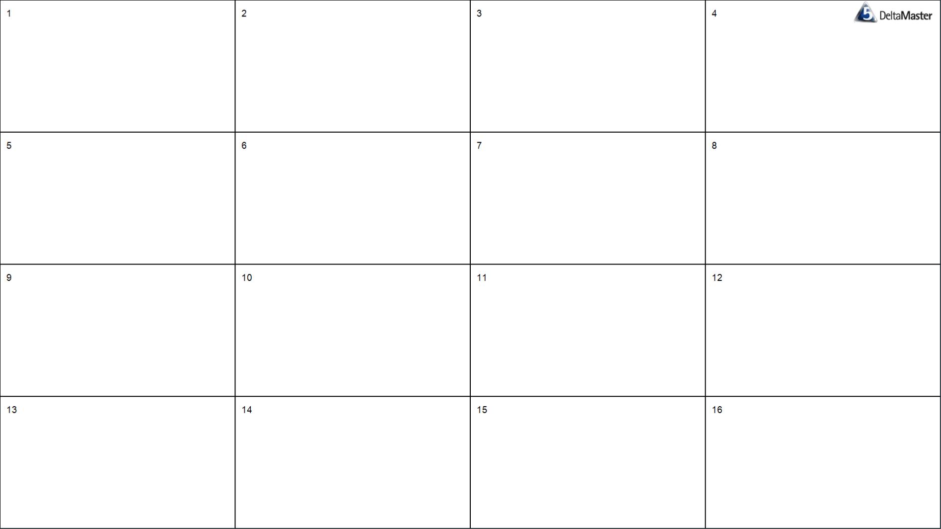Aufteilung in vier Zeilen und vier Spalten