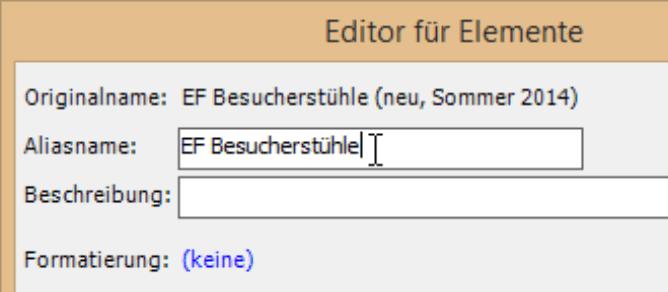 Editor für Elemente