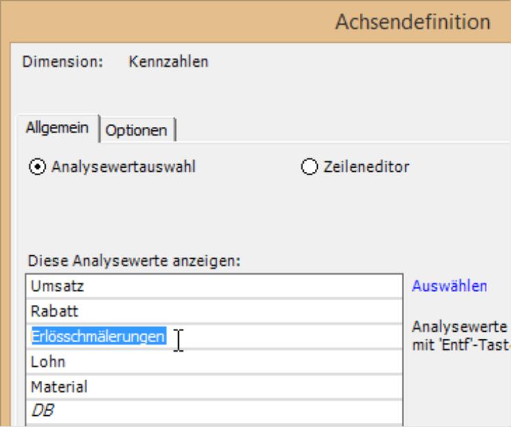Individuelle Bezeichnungen in der Achsendefinition auf der Registerkarte Allgemein