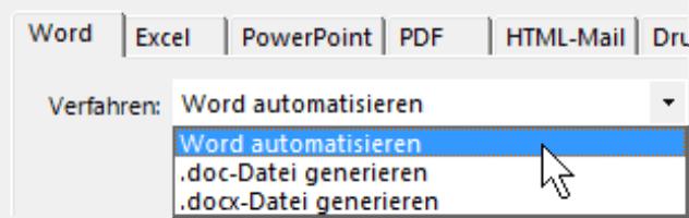 Auswahlmöglichkeiten auf der Registerkarte Word: Word automatisieren, .doc-Datei generieren oder .docx-Datei generieren