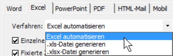 Auswahlmöglichkeiten auf der Registerkarte Excel: Excel automatisieren, .xls-Datei generieren oder .xlsx-Datei generieren