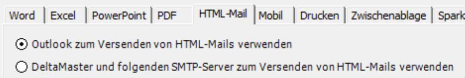Auswahlmöglichkeiten auf der Registerkarte HTML-Mail: Outlook zum Versenden von HTML-Mails verwenden oder DeltaMaster und folgenden SMTP-Server zum Versenden von HTML-Mails verwenden