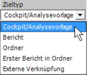 Selektion Zieltyp: Cockpit/Analysevorlage, Bericht, Ordner, Erster Bericht in Ordner, Externe Verknüpfung