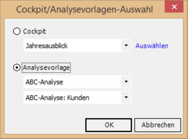 Auswahlmöglichkeit Analysevorlage bei Cockpit/Analysevorlagen-Auswahl