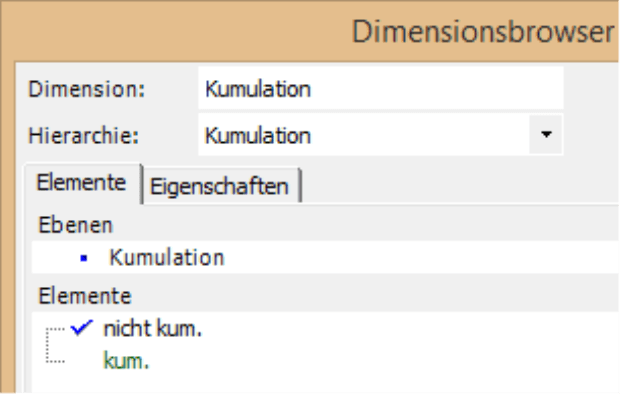 In Registerkarte Elemente Elemente nicht kumuliert in schwarz geschrieben und kumuliert in grün geschrieben
