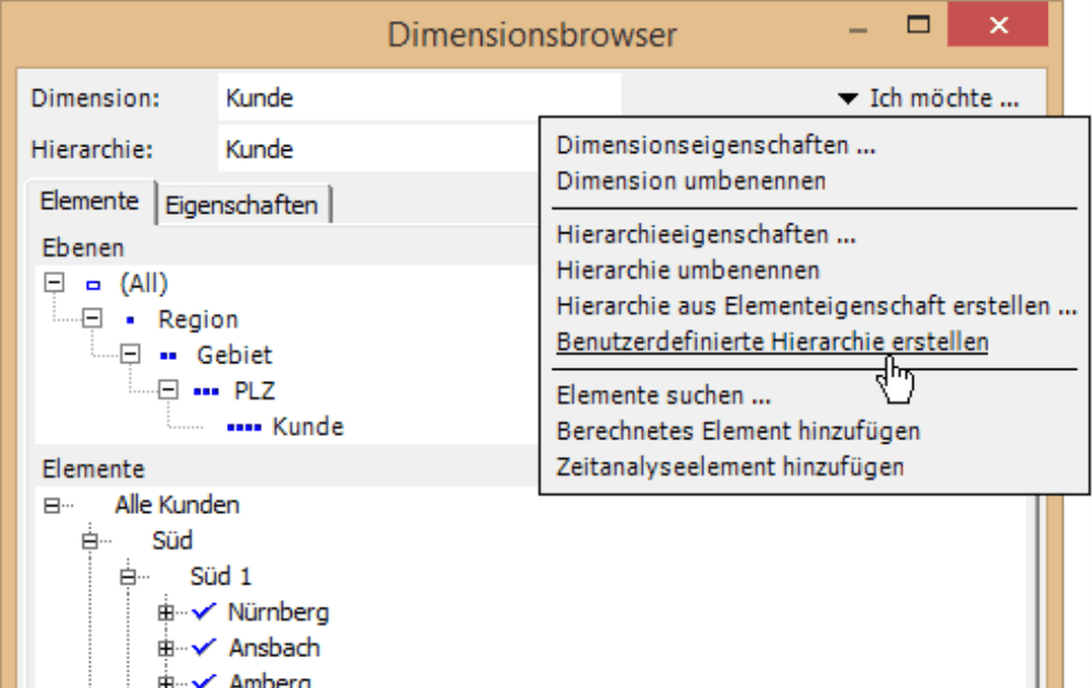 Dimensionsbrowser mit der Auswahl Benutzerdefinierte Hierarchie erstellen