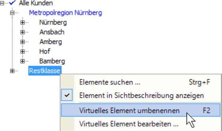 Auswahl Restklasse mit den Möglichkeiten Elemente suchen..., Element in Sichtbeschreibung anzeigen, Virtuelles Element umbenennen oder Virtuelles Element bearbeiten