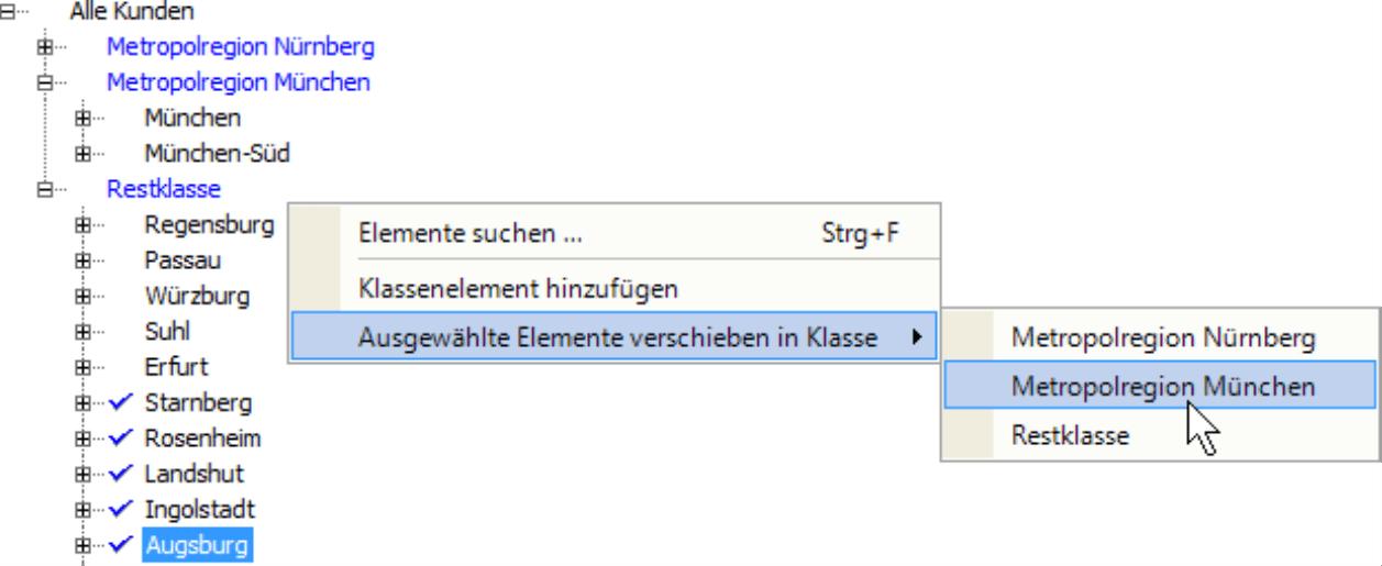 Auswahl Element mit den Möglichkeiten Elemente suchen..., Klassenelement hinzufügen und Ausgewählte Elemente verschieben in Klasse mit der Auswahl Metropolregion Nürnberg, Metropolregion München oder Restklasse