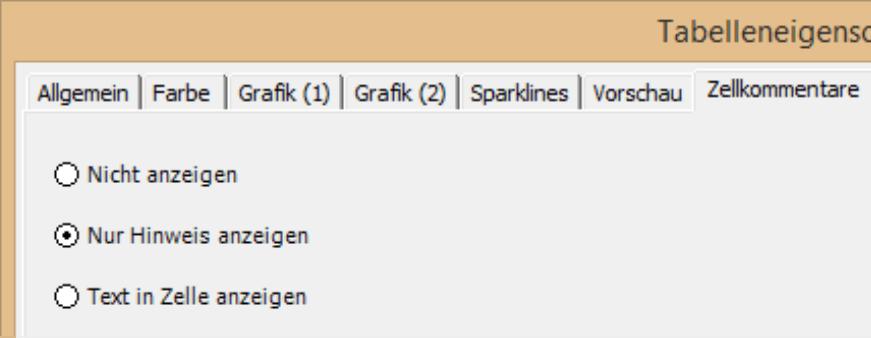 Registerkarte Zellkommentare in den Tabelleneigenschaften mit der Auswahl Nicht anzeigen, Nur Hinweis anzeigen und Text in Zelle anzeigen