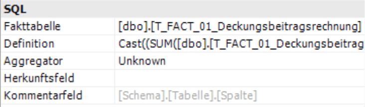 SQL mit Fakttabelle, Definition, Aggregator, Herkunftsfeld und Kommentarfeld