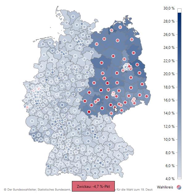 Ergebnisse für DIE LINKE: Flächenfärbung gemäß Zweitstimmenanteil 2017 und Markerfärbung gemäß Änderung in Prozentpunkten gegenüber der letzten Bundestagswahl 2013