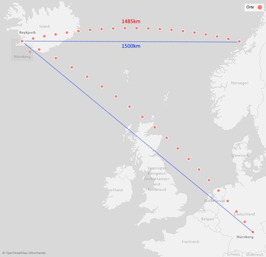 Von Nürnberg nach Reykjavik und dann 1500 km entlang des Breitengrades nach Osten