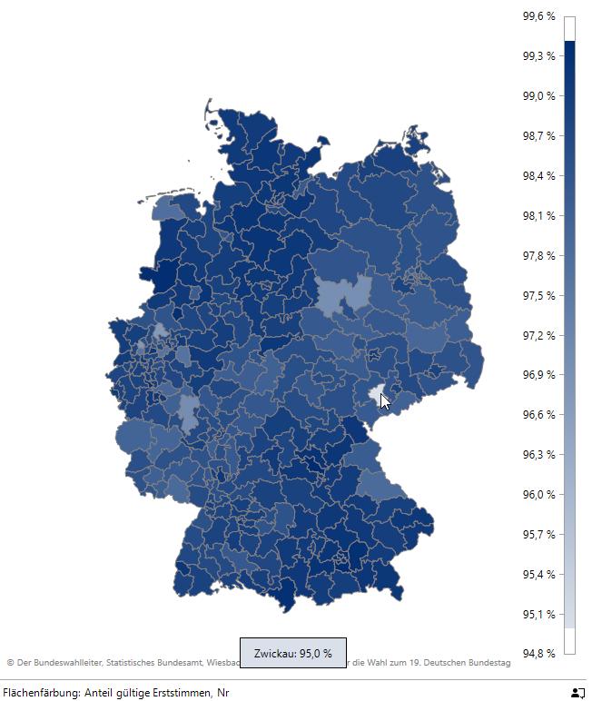 Ausreißer Zwickau bei den gültigen Erststimmen