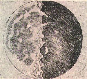 Monddarstellung von Galileo Galilei, 1610